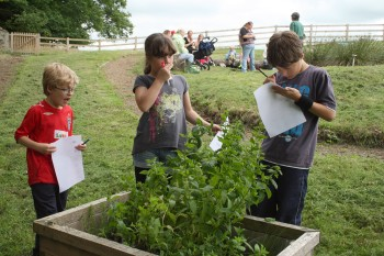 Children Smelling Herbs